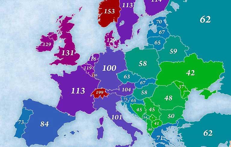 Составлена Карта стоимости жизни и покупательской способности в странах Европы