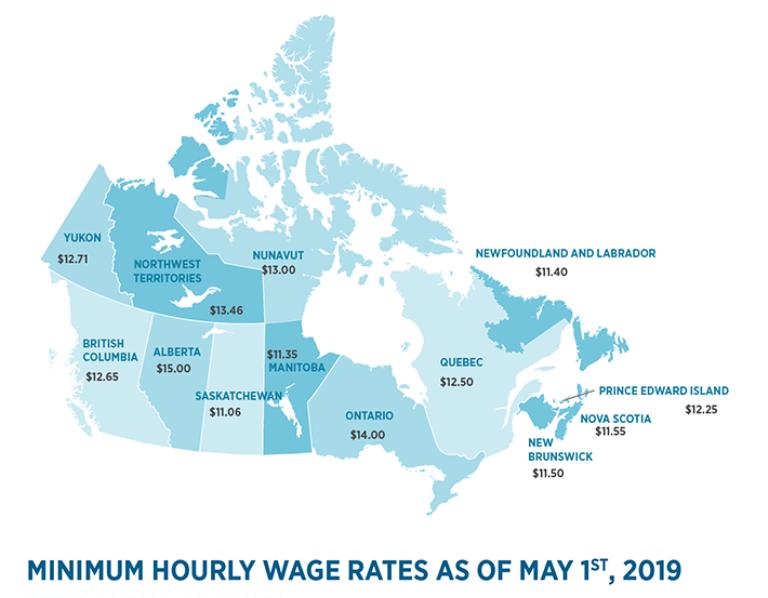 В Квебеке подняли минимальную почасовую зарплату