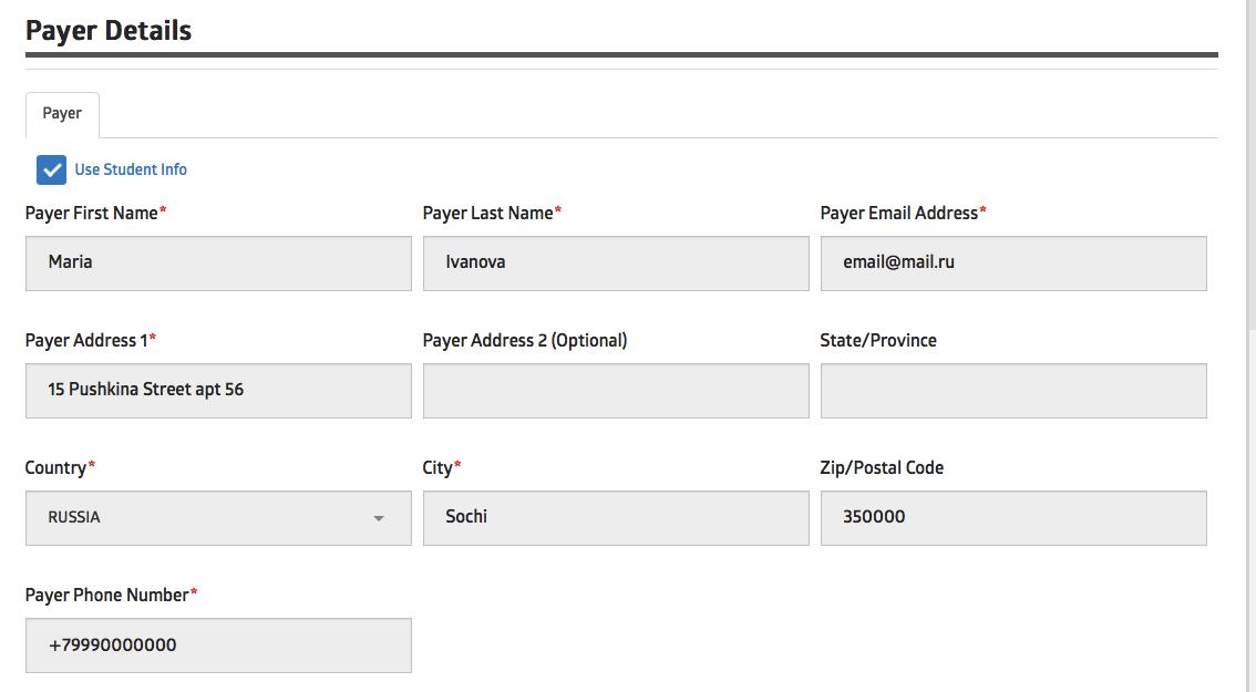 Заполнение контактных данных плательщика