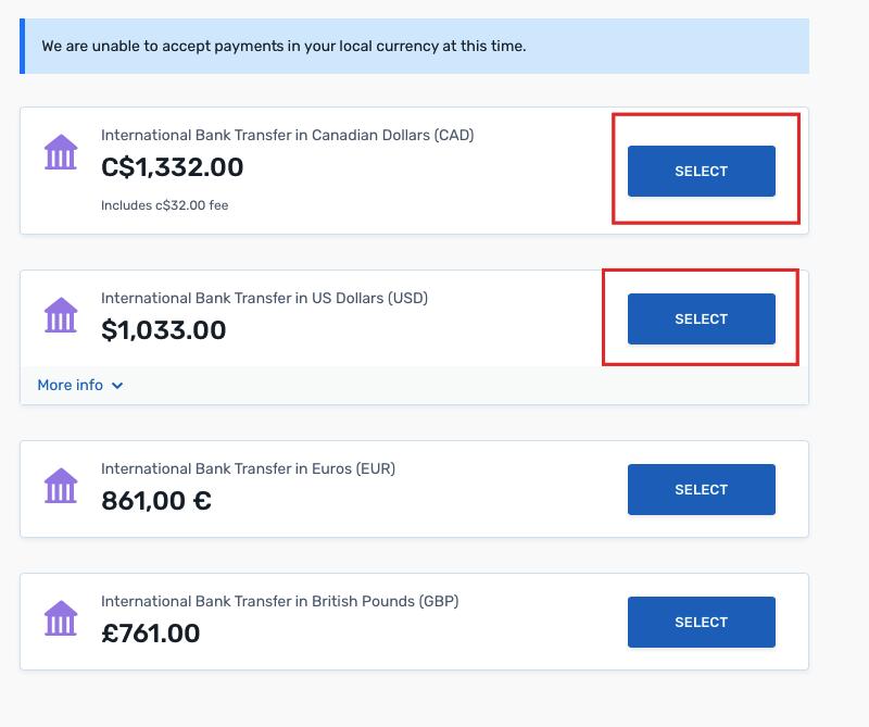 Выбор валюты для оплаты